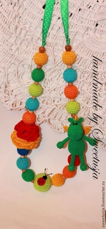 Слингобусы ручной работы. Ярмарка Мастеров - ручная работа. Купить Слингобусы с драконом. Handmade. Слингобусы, кормительные бусы, подарок для новорожденной
