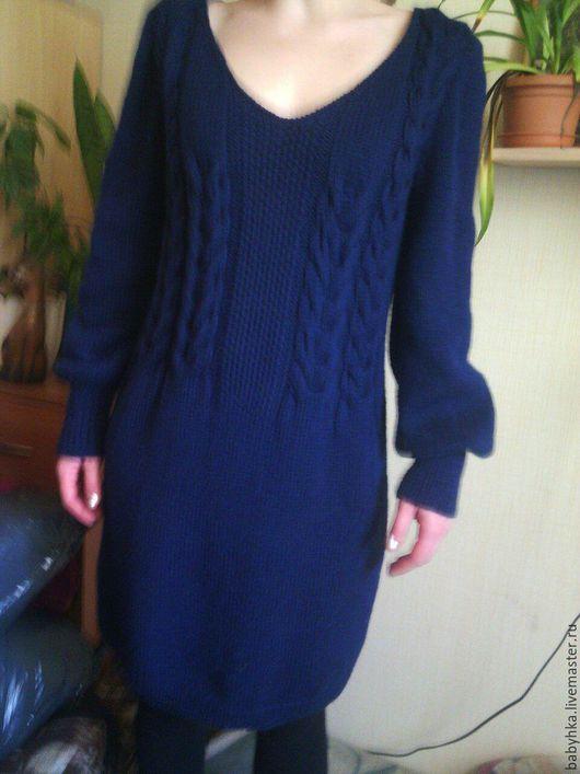 Платья ручной работы. Ярмарка Мастеров - ручная работа. Купить Теплое платье для женщины. Handmade. Тёмно-синий, шерсть меринос