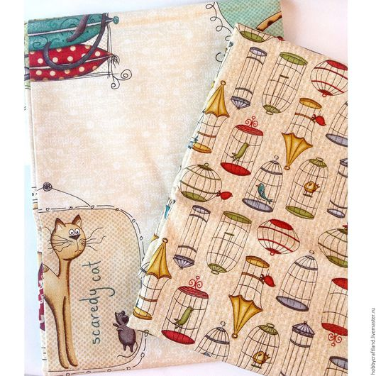 Шитье ручной работы. Ярмарка Мастеров - ручная работа. Купить Набор тканей для рукоделия 2 шт 30х55 см птички котики Handmade. Ткань для творчества