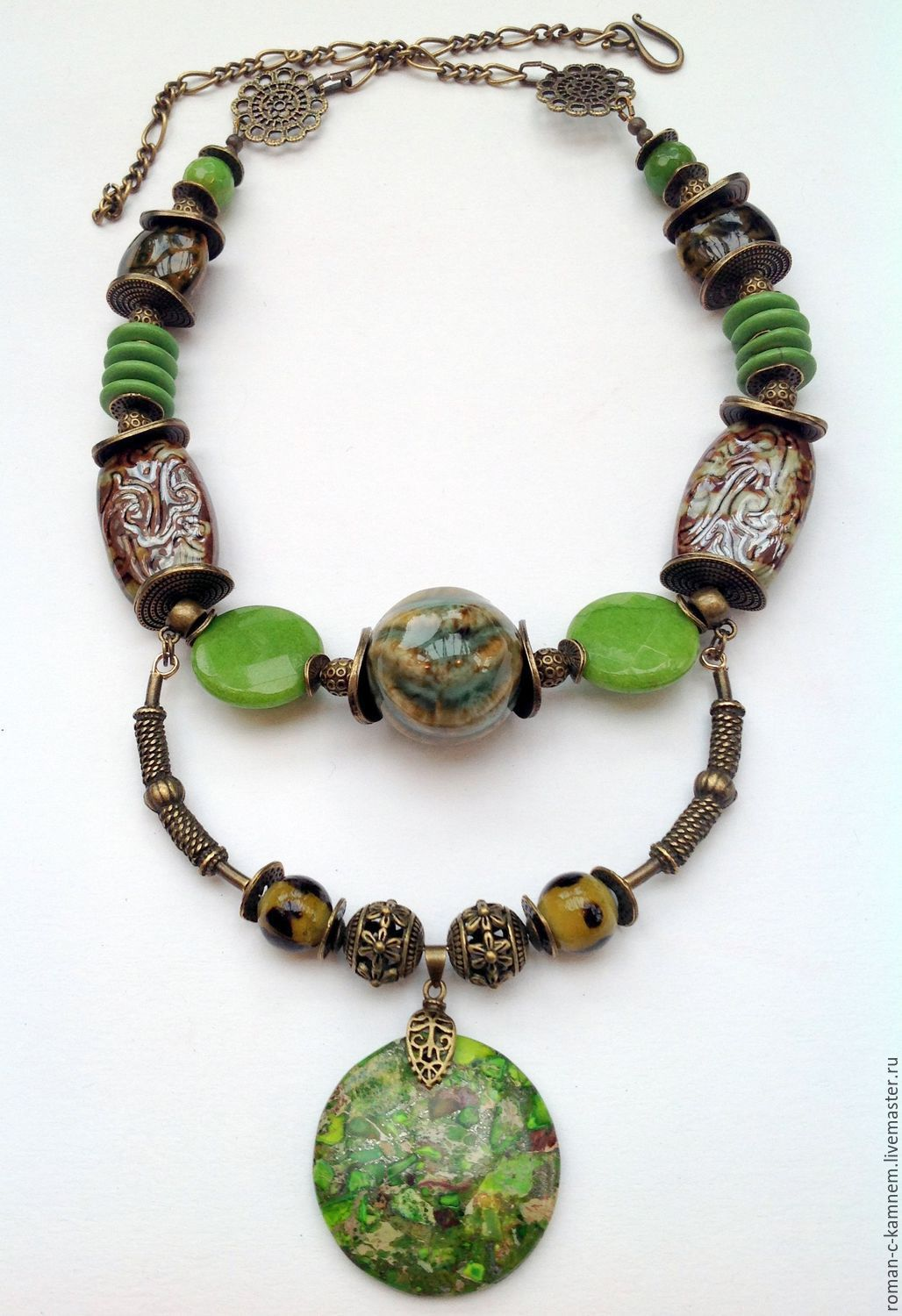 natural materials Long beaded necklace