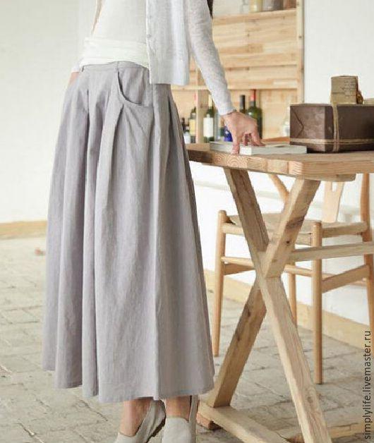 """Юбки ручной работы. Ярмарка Мастеров - ручная работа. Купить Юбка """"Летняя классика"""". Handmade. Серый, юбка длинная"""