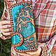 Leather purse 'Celtic Tree of Life' - turquoise, Wallets, Krasnodar,  Фото №1