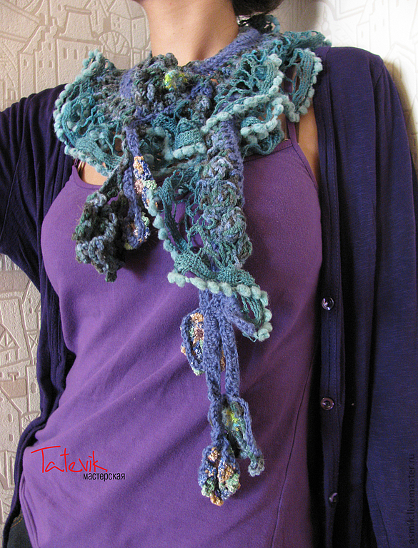 Knitted scarf 'Sea wave' boho chic, Scarves, Moscow,  Фото №1
