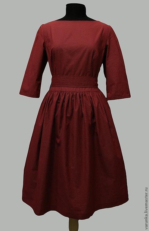 """Платья ручной работы. Ярмарка Мастеров - ручная работа. Купить платье """"Бордо"""". Handmade. Бордовый, ретро, винтажное платье"""