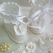 Работы для детей, handmade. Livemaster - original item BAPTISMAL SET: booties, headbands. Handmade.
