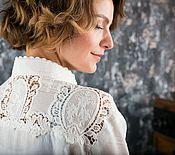 Блузки ручной работы. Ярмарка Мастеров - ручная работа Кружевная рубашка из хлопкового шитья. Handmade.