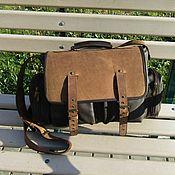 Сумки и аксессуары handmade. Livemaster - original item Men`s leather messenger bag SAFARI walnut-chocolate. Handmade.