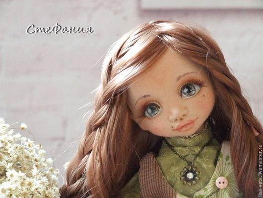 Коллекционные куклы ручной работы. Ярмарка Мастеров - ручная работа. Купить Стефания. Handmade. Зеленый, кукла с сумочкой, трессы