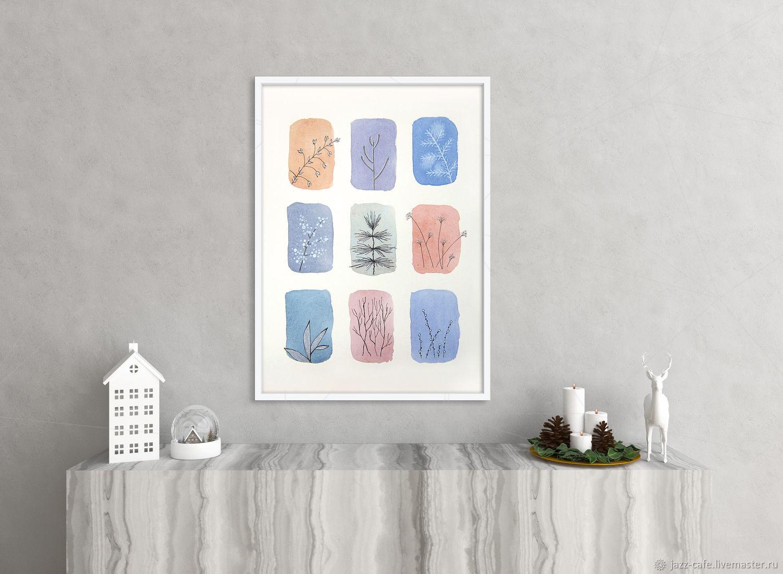 Картина-паттерн Зима. Стиль минимализм. Белый, синий, розовый, Картины, Северск,  Фото №1