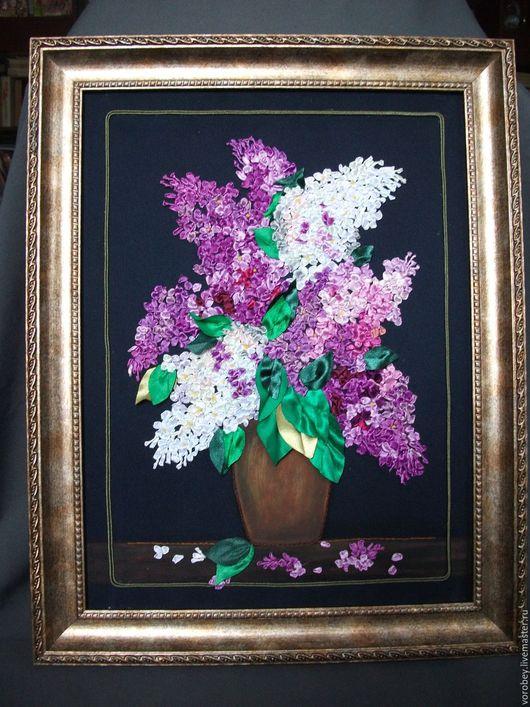 """Картины цветов ручной работы. Ярмарка Мастеров - ручная работа. Купить панно"""" Сирень"""". Handmade. Комбинированный, панно, атласные ленты"""