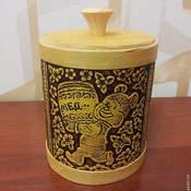 """Для дома и интерьера handmade. Livemaster - original item Туес из бересты для меда """"Олимпийский мишка"""". Бочонок для меда. Handmade."""