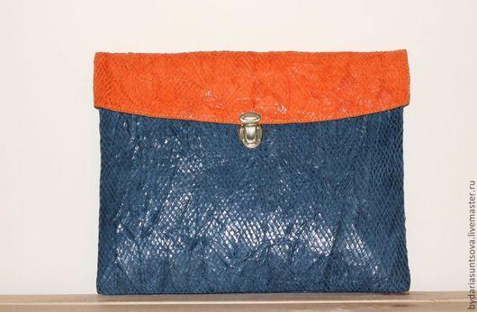 Женские сумки ручной работы. Ярмарка Мастеров - ручная работа. Купить Клатч Техас (синий/оранжевый). Handmade. Клатч из натуральной кожи
