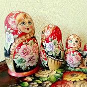 """Русский стиль ручной работы. Ярмарка Мастеров - ручная работа Матрёшка """" С розами"""" 5 мест. Handmade."""