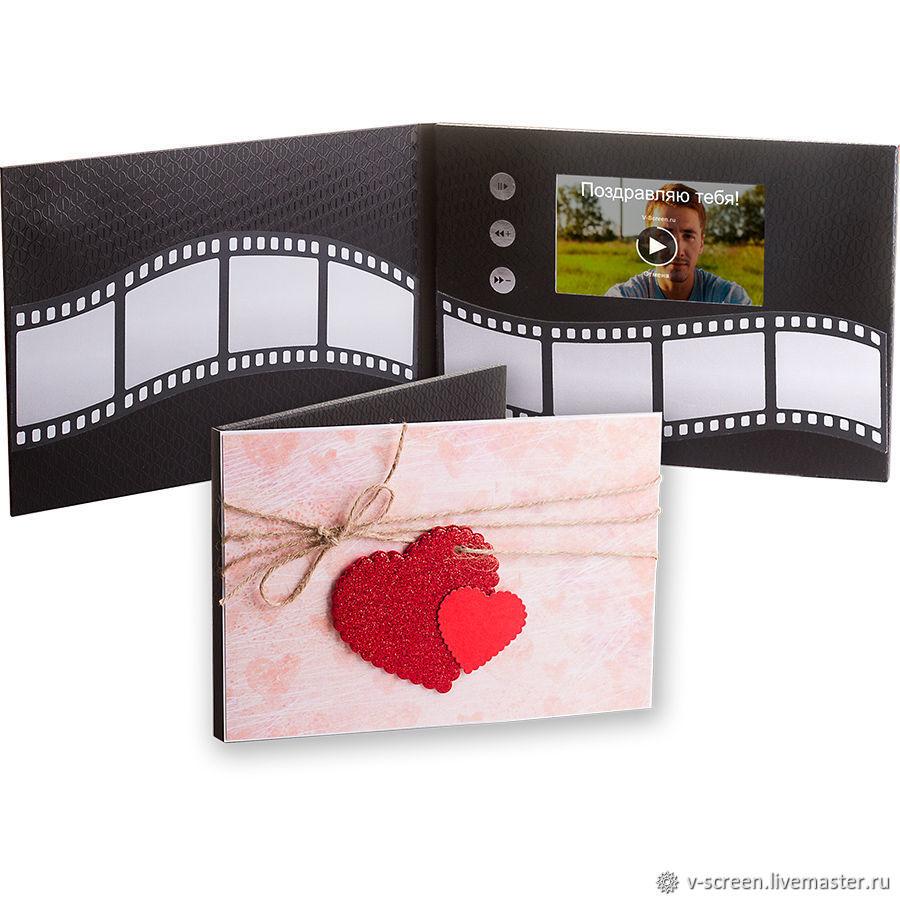 """Видеооткрытка с экраном  """"Два сердца"""" для любимых, Открытки, Москва,  Фото №1"""