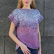 Одежда handmade. Livemaster - original item Shirt cotton short sleeve purple multicolor. Handmade.