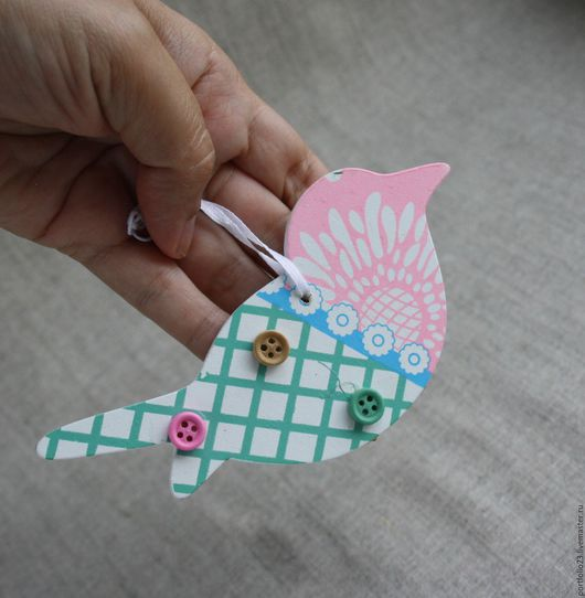 Куклы и игрушки ручной работы. Ярмарка Мастеров - ручная работа. Купить Подвеска птичка. Handmade. Бледно-розовый, птичка, подвеска