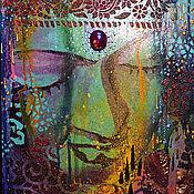 """Картины и панно ручной работы. Ярмарка Мастеров - ручная работа Декоративное панно """"БУДДА"""" в резной раме. Handmade."""