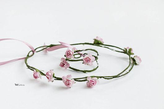 Диадемы, обручи ручной работы. Ярмарка Мастеров - ручная работа. Купить Цветочный венок на голову и браслет. Handmade. Бледно-розовый