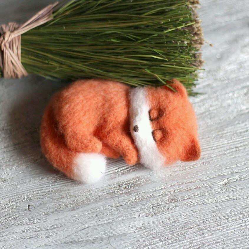 Лисенок спящий игрушка из войлока, Войлочная игрушка, Москва,  Фото №1