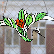 """Для дома и интерьера ручной работы. Ярмарка Мастеров - ручная работа Витраж Подвеска """"Японский журавль"""". Handmade."""