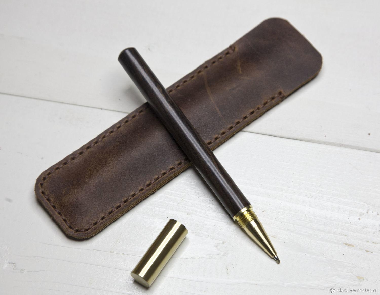 Ручка из дерева и латуни с чехлом из кожи, Ручки, Санкт-Петербург,  Фото №1
