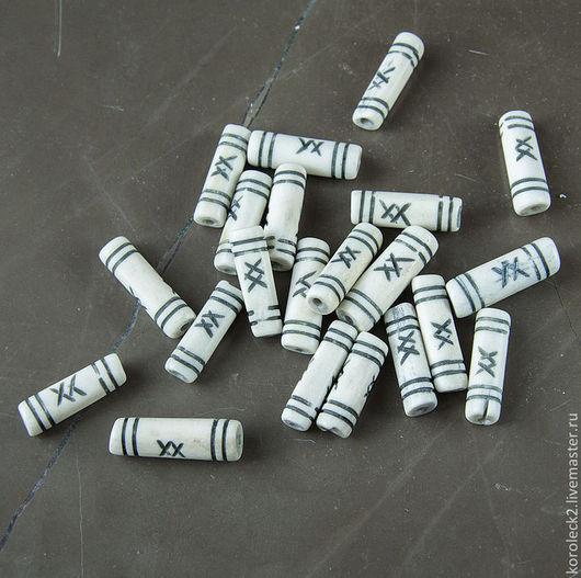 Для украшений ручной работы. Ярмарка Мастеров - ручная работа. Купить Белые костяные бусины-трубочки с черным рисунком. Handmade.