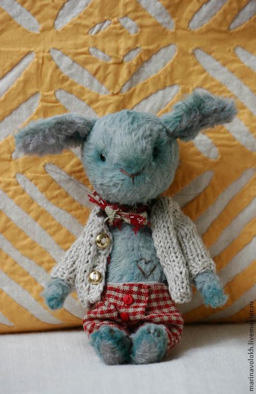 Мишки Тедди ручной работы. Ярмарка Мастеров - ручная работа. Купить Зайка Алешка. Handmade. Голубой, зайчик игрушка, кролик