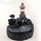 """Ночники ручной работы. Ярмарка Мастеров - ручная работа Ночник-диорама """"Фрегат под черными парусами и маяк"""".. Handmade."""
