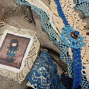 Аксессуары ручной работы. Ярмарка Мастеров - ручная работа Бохо косынка Бирюза на сером. Handmade.