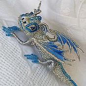 "handmade. Livemaster - original item Dragon brooch ""Snow"".  Brooch beads. Embroidered dragon.. Handmade."