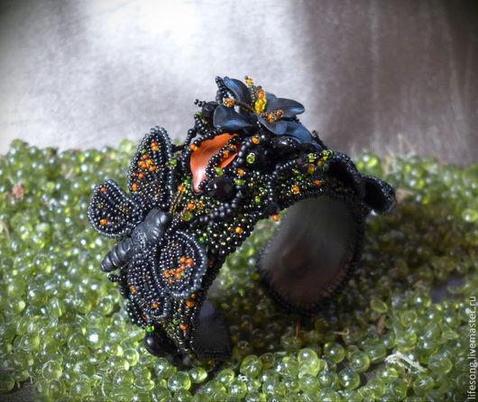 """Браслеты ручной работы. Ярмарка Мастеров - ручная работа. Купить браслет """"Темная фея"""" вышивка бисером. Handmade. Черный, субкультуры"""
