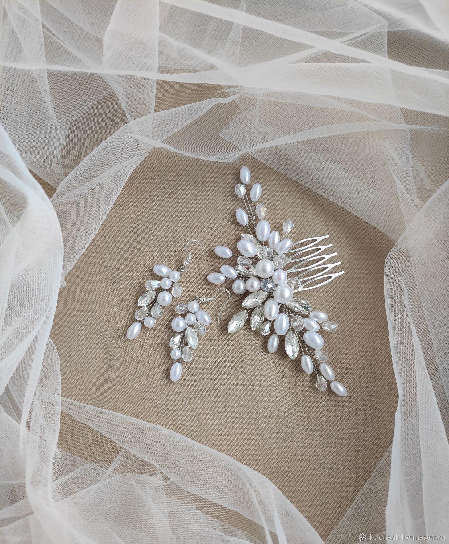 Гребень и серьги. Комплект свадебных украшений. Серьги невесты, Гребень, Севастополь,  Фото №1