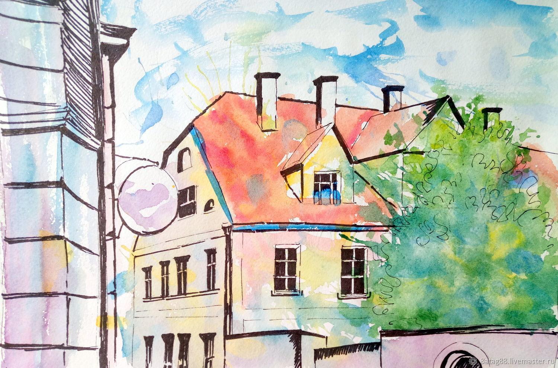 Городской скетч город Тарту  иллюстрация, Иллюстрации, Подольск,  Фото №1