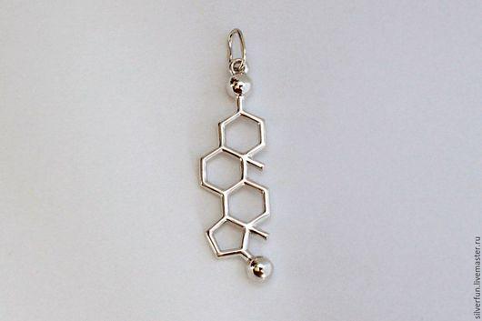 Серебряный кулон. Молекула Тестостерон. Серебро. Мастерская SilverFun, г. Новосибирск