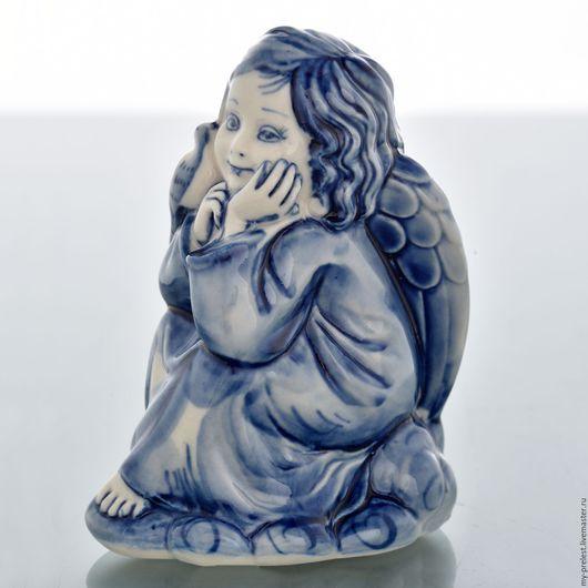 Статуэтки ручной работы. Ярмарка Мастеров - ручная работа. Купить Фигурка фарфор ангел ручное окрашивание стиль гжель. Handmade.