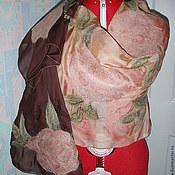 Аксессуары ручной работы. Ярмарка Мастеров - ручная работа палантин из шелка Роза цвета пудры. Handmade.