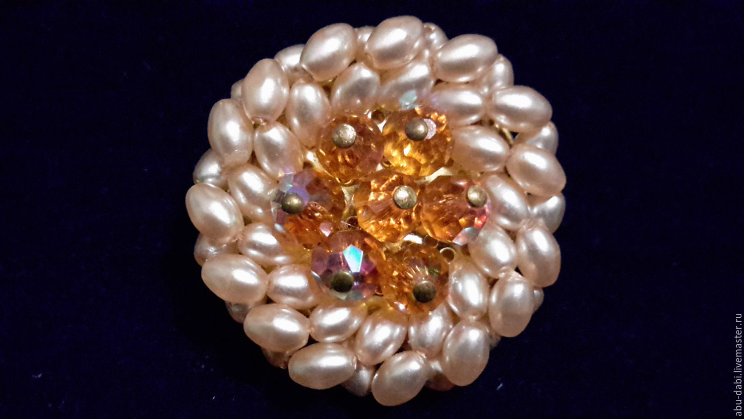 Czech vintage brooch: `rice pearls` beads tea-colored with an iridescent coating.So the brooch looks on the dark velvet.
