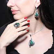 Украшения handmade. Livemaster - original item Adaya jewelry set with malachite in 925 sterling silver HH0015. Handmade.