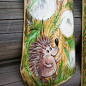 Картины и панно handmade. Livemaster - original item Triptych on an old tree, the hedgehog and the Snail in the dandelions Painting. Handmade.