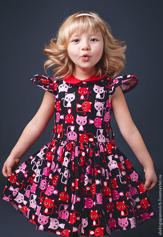 Одежда для девочек, ручной работы. Ярмарка Мастеров - ручная работа. Купить Кошачье платье. Handmade. Рисунок, принт на ткани