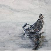 """Картины и панно ручной работы. Ярмарка Мастеров - ручная работа Акварельный рисунок """"Забытая лодка"""". Handmade."""
