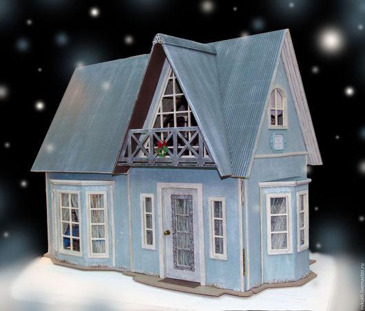 Кукольный дом ручной работы. Ярмарка Мастеров - ручная работа. Купить Кукольный домик. Handmade. Голубой, домики, кукла