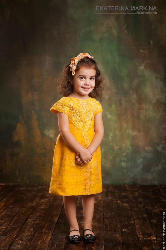 """Одежда для девочек, ручной работы. Ярмарка Мастеров - ручная работа. Купить Желтое валяное платье для девочки """"Солнышко"""". Handmade. Желтый"""