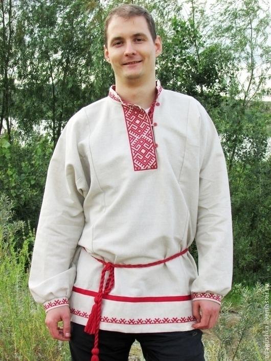 """Одежда ручной работы. Ярмарка Мастеров - ручная работа. Купить Рубаха славянская """"Даждьбог"""" небеленый лен. Handmade. Вышивка крестом"""