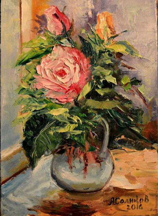 """Картины цветов ручной работы. Ярмарка Мастеров - ручная работа. Купить """"Розовая нежность"""". Handmade. Картина, картина для интерьера"""