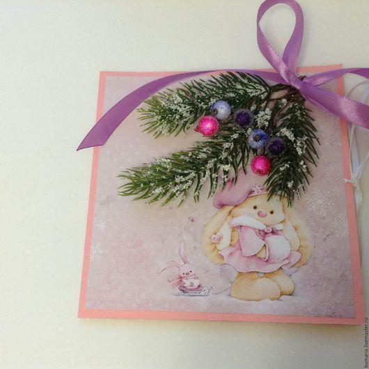 Открытки к Новому году ручной работы. Ярмарка Мастеров - ручная работа. Купить Милая новогодняя открытка. Handmade. Розовый