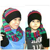 Шапки ручной работы. Ярмарка Мастеров - ручная работа вязаная шапка колпак, шапка шарф, длинная шапка, полосатая шапка. Handmade.