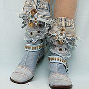 Обувь ручной работы. Ярмарка Мастеров - ручная работа Сапоги джинсовые, каблук 2см.. Handmade.