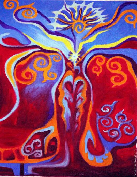 Абстракция ручной работы. Ярмарка Мастеров - ручная работа. Купить Земля и небо - Авторская картина маслом на холсте. Handmade.