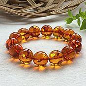Bead bracelet handmade. Livemaster - original item Amber bracelet, color is tea with bubbles inside.15.5 mm. Handmade.